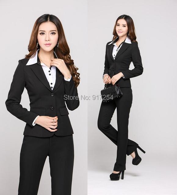 Nueva elegante negro 2015 otoño invierno moda delgado mujer negocios carrera pantalones trajes uniforme profesional Blazers ropa