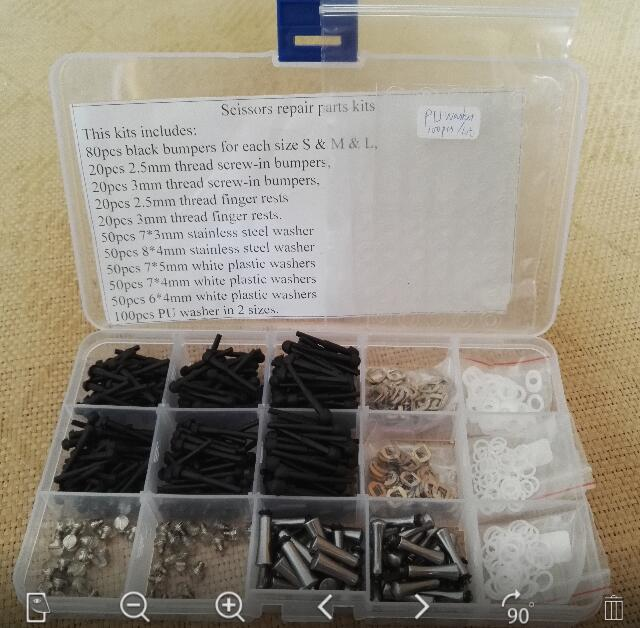 Aktualisiert haar Schere reparatur ersatzteile kits wie stoßstangen stopper & finger rest/schere tangs/scheiben & schraube muttern