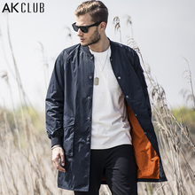 AK CLUB Brand Men Trench Coat Medium-Long Length Vintage Flying Tigers Printing Baseball Jacket Collar MA-1 Men Jacket 1706038