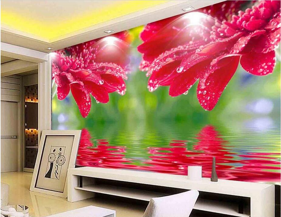 Custom Photo 3d Room Wallpaper Non Woven Mural Water Lines Red