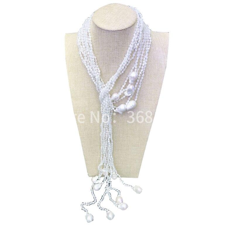 2018 nouveau blanc clair de lune perle long collier collier chaîne femmes mode simple personnalité chandail chaîne tendance