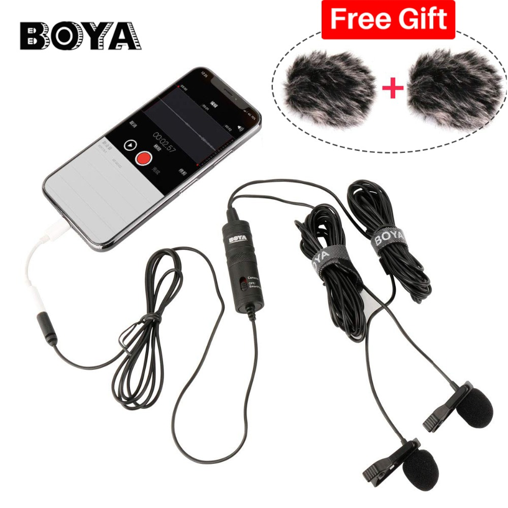 BOYA BY-M1DM Lavalier Microphone 4m Omni-directional Clip-on Lapel Video Mic for iPhone Canon Nikon DSLR,Updated of BY-M1