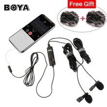 Boya BY M1DM lavalier microfone 4m omni direcional clip on lapela vídeo mic para iphone canon nikon dslr, atualizado de BY M1