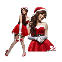Foreign Trade Camisole Women Red Christmas Dress Bring Hat Goods