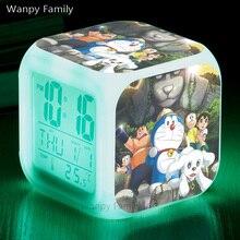 [Wanpy Family] Japanese anime Doraemon Alarm Clock For Childrens Birthday Gift Bedside Desktop Color Changing
