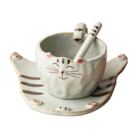 2018 Kawaii Japan Cartoon Cat Coffee Mugs With Saucer Tea Milk Cup Set with spoon Creative Handpaint Ceramic Cups Drinkware Gift