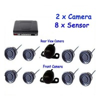 8 Sensors Dual Core car parking sensor with 2 Camera (Front +Rear) Car Reversing image and distance can show on LCD Car Monitor