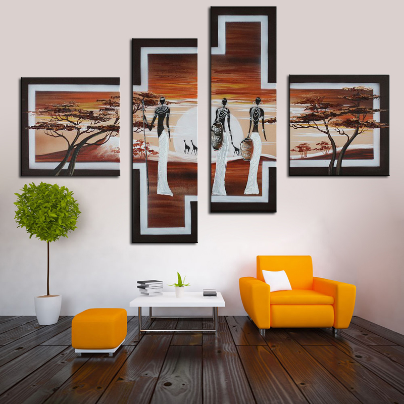 DropShopping Hand Painted Sun African relax life style Abstract Landscape Wall Home Decor Oil Painting On Canvas 4Pcs Set