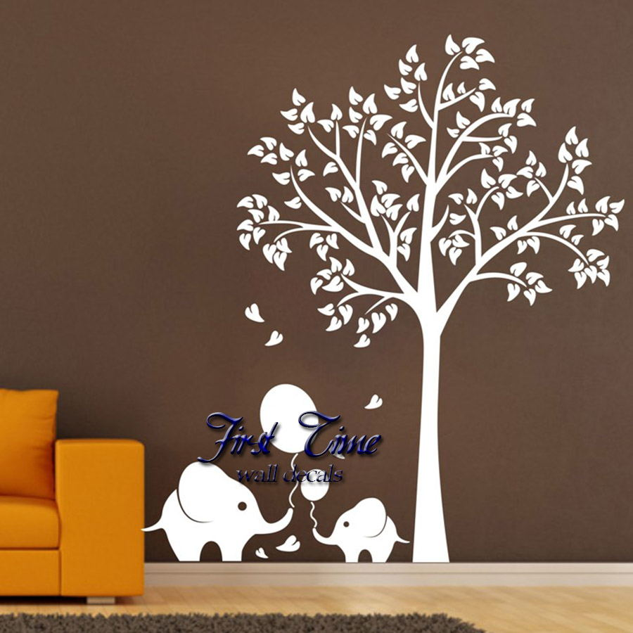 oversized wall murals promotion shop for promotional oversized oversize high150cm elephant tree wall decals wall mural nursery vinyls baby wall stickers wall decor