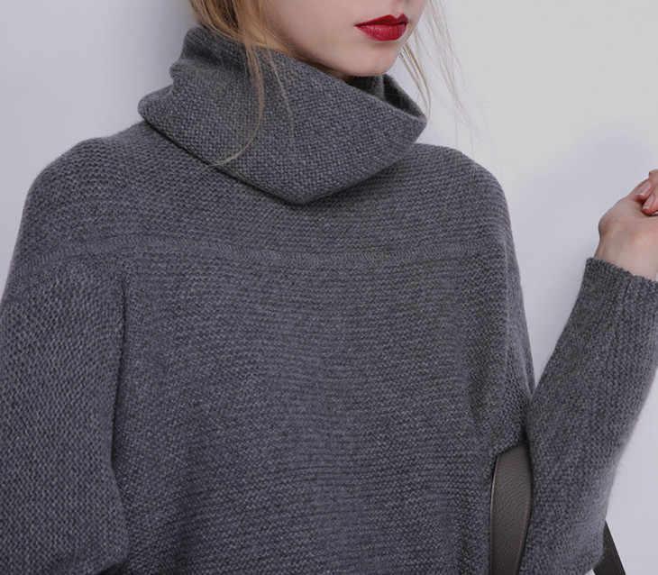 Mùa thu Mùa Đông Thời Trang Mới Cashmere Len Phụ Nữ Ấm Rắn Áo Len Nữ Giản Dị Dài Tay Áo Cao Cổ Loose Dệt Kim Chui