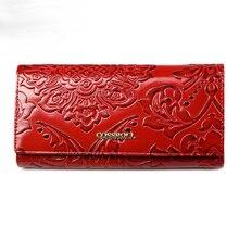 Vintage Female Wallet Genuine Leather Clutch Women Long Luxury Brand Purses Cell Phone Handbags Card Holders
