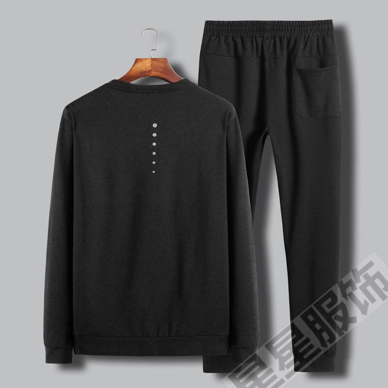 Плюс 8XL 6XL 5X 2 в 1 Новая Осенняя Хлопковая мужская футболка, ультра низкая цена, Мужская футболка с длинными рукавами, круглый вырез, чистый цве... - 2