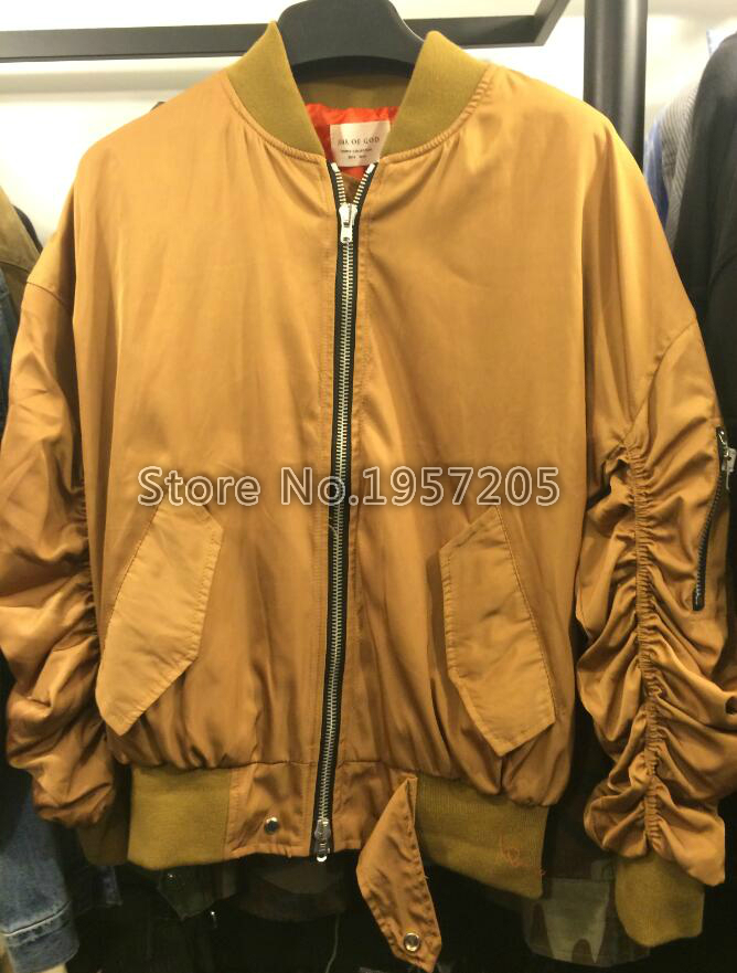 9da9a0f3c Top Version Fear Of God Ruched Sleeve Bomber Jacket Snap Flap Back ...