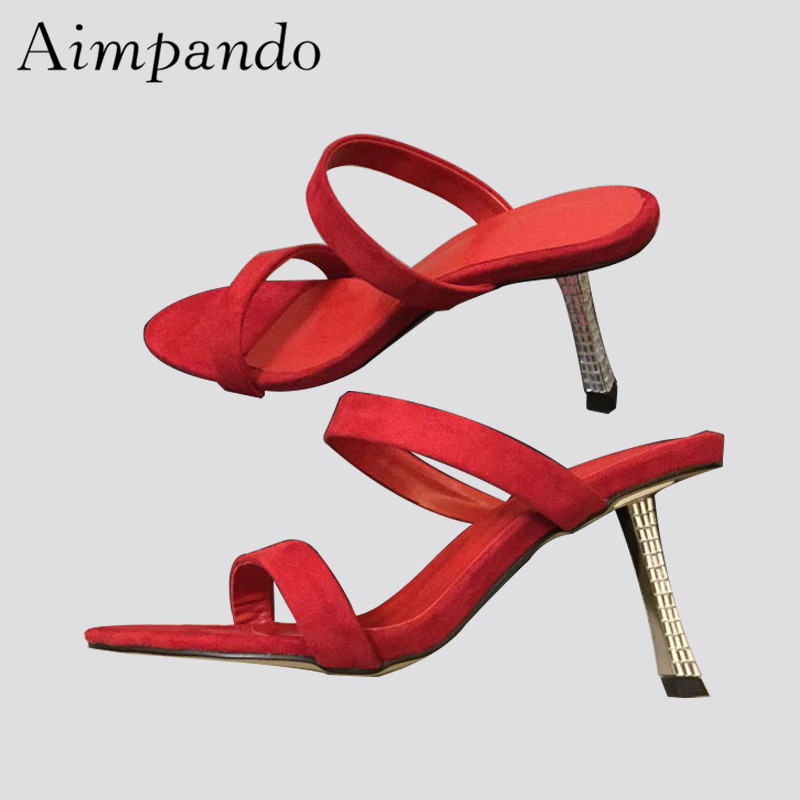 New Chic 2019 Red Suede Gladiator Sandals Women Two-wear Open Toe Jewelled Thin High Heels Summer Shoes WomanNew Chic 2019 Red Suede Gladiator Sandals Women Two-wear Open Toe Jewelled Thin High Heels Summer Shoes Woman