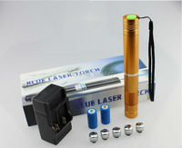Super Powerful blue laser pointers 450nm 500000m LAZER Flashlight Burning Match cigar cutting paper plastic+5 caps+gift box