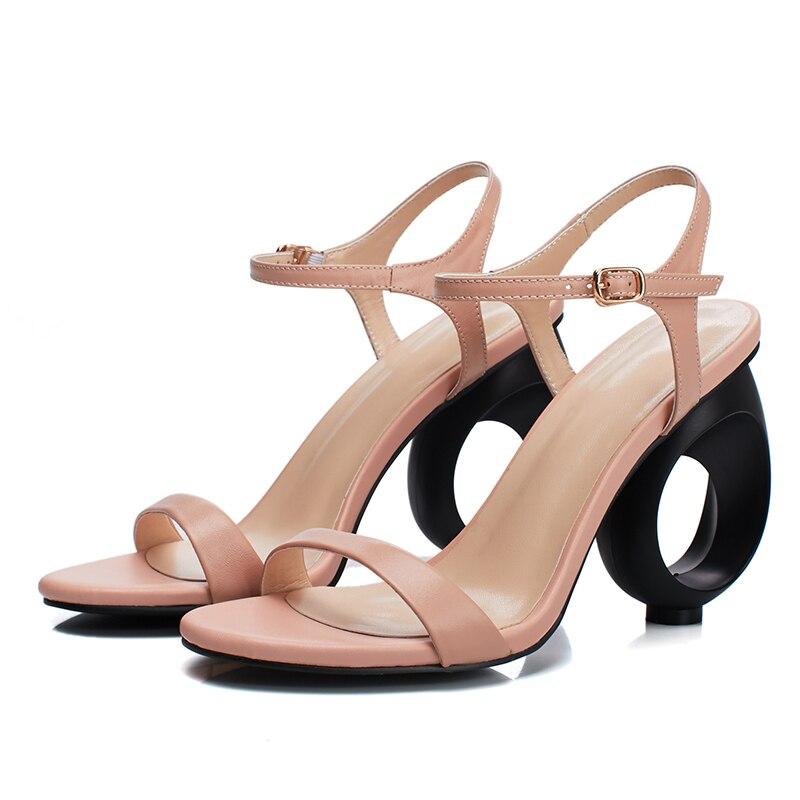 DoraTasia 2018 grand taille 33 41 en cuir véritable marque chaussures femmes  sexy étrange talons hauts cheville sangle femme sandales partie chaussures  dans ... 743c1eae5cd0