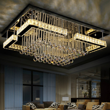 Modern LED Ceiling Lights rectangle crystal luminaires hotel lobby illumination living room lamps bedroom