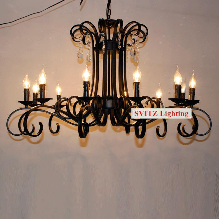 Crystal Chandeliers For A Luxury Hotel In Italy: Italy Antique Black Chandelier 12 Led Candle Lights