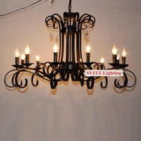 Italy Antique Black chandelier 12 led candle lights crystal chandeliers lamps Hotel living room large Luxury vintage chandelier