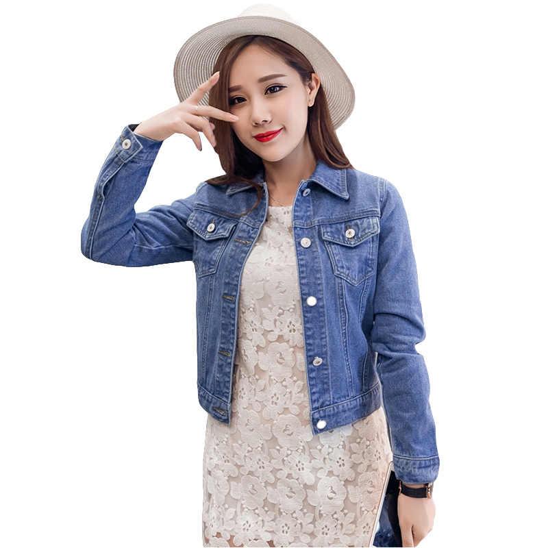 124ca0f60bd Тонкий короткие джинсовые куртки для Для женщин Весна с длинным рукавом  Основные куртки Женская мода одноцветное