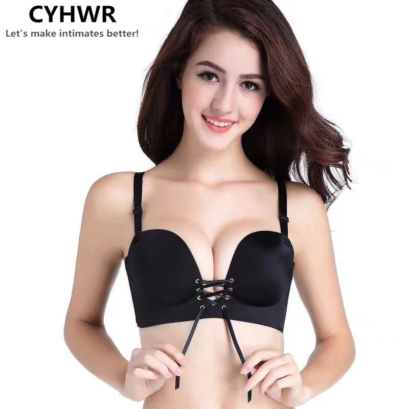 CYHWR Seamless Add Two Cups Bras Brassiere For Women Sexy Push Up Padded Unlined Bra ...