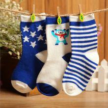 New 3 Pairs Baby Infant Winter Soft Cartoon Socks Striped Anti-slip Ankle Socks 0-3Y