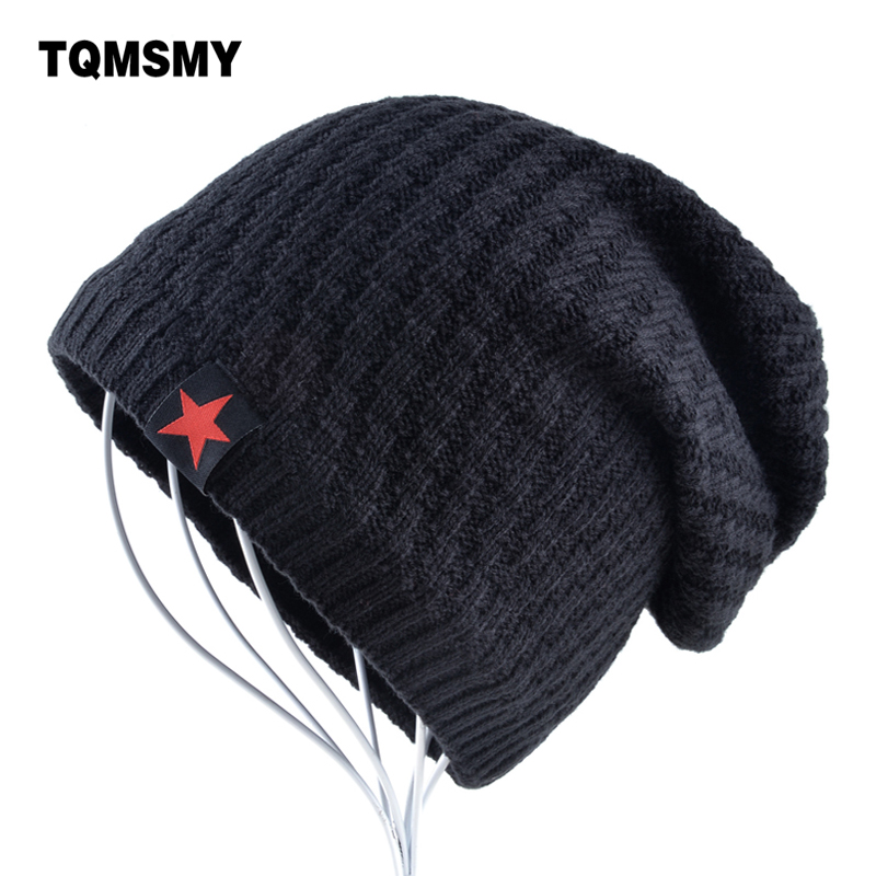 Solid color Winter hats for men plus velvet keep warm beanies man Knitted wool bonnet Red Star hat Hip Hop caps Autumn gorros