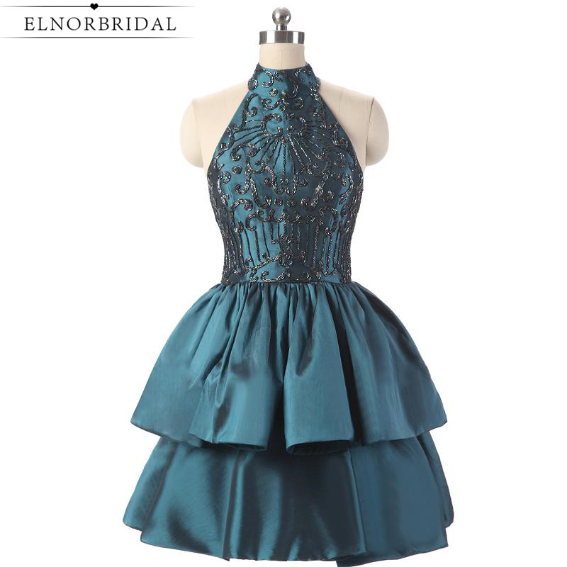 Short Cocktail Dresses 2017 Robe De Cocktail Noire Beading Satin Homecoming Dress Mini Sexy Prom Gowns