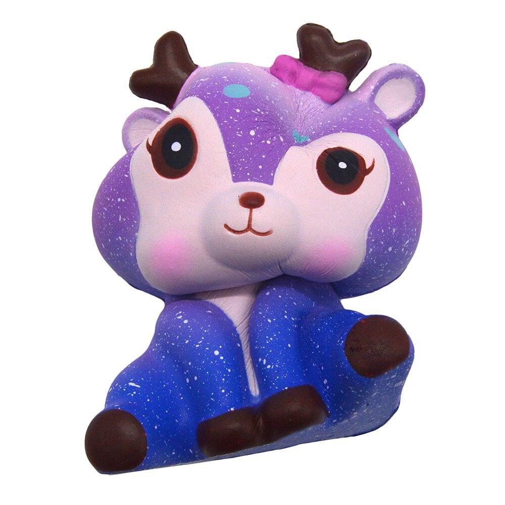 2018 Kawaii 11cm Galaxy Cute Deer Cream Squishy Charm Slow Rising Squeeze Strap Toy Office ...