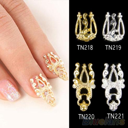 10x 3D Glitter Alloy Hollow Out Nail Art Sticker Slices Charms DIY ...