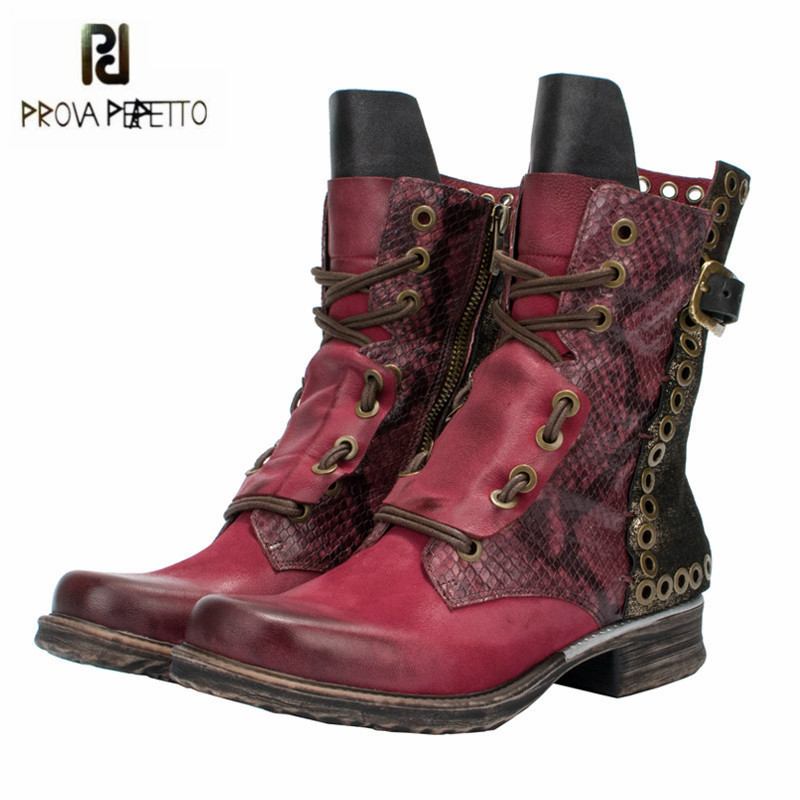 Prova Perfetto Patchwork Ankle Boots for Women Autumn Winter Flat Botas Mujer Female Rivets Studded Platform Rubber Shoes Woman mabaiwan retro brown ankle boots for women metal decor autumn winter botas mujer genuine leather platform rubber shoes woman