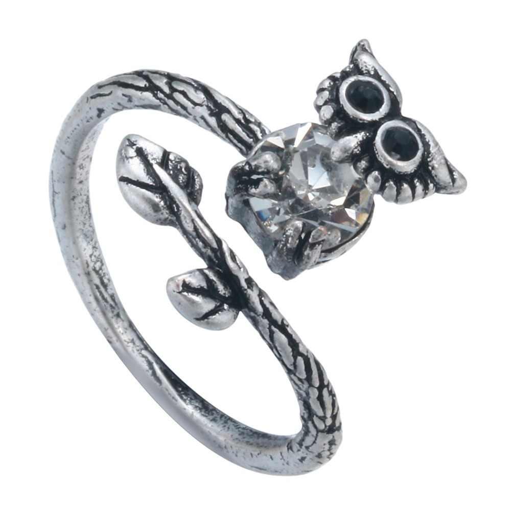 Qiamni Unik Burung Hantu Hewan Vintage Kristal CZ Cincin Burnished Burung Cincin Pesona BoHo Chic Perhiasan Pesta Hadiah untuk Wanita Wanita
