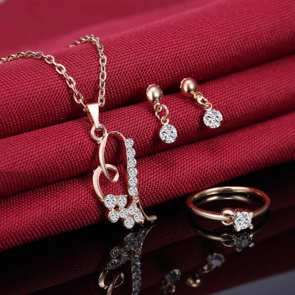 RINHOO 2018 Romantic Heart Pendant Necklaces Jewelry Set Exquisite Earring Rings Set For Women Wedding Party Engagement Jewelry