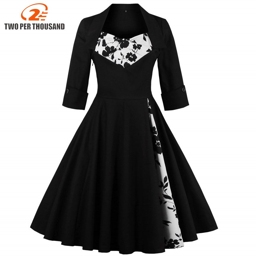 3XL 4XL 5XL Plus Storlek Kvinnor Kläder Pin UP Vestidos Vårhöst Retro Casual Party Robe Rockabilly 50s 60s Vintage Dresses