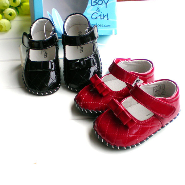 2019 OMN Genuine Leather Baby Girls First Walkers Red Black Princess Leather Shoes Infant Toddler Dress Shoes