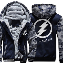 The Flash Man hoodies warm fleece thicken men sweatshirts 2018 winter the flash jacket fashion coat S-5XL Zippered Hooded