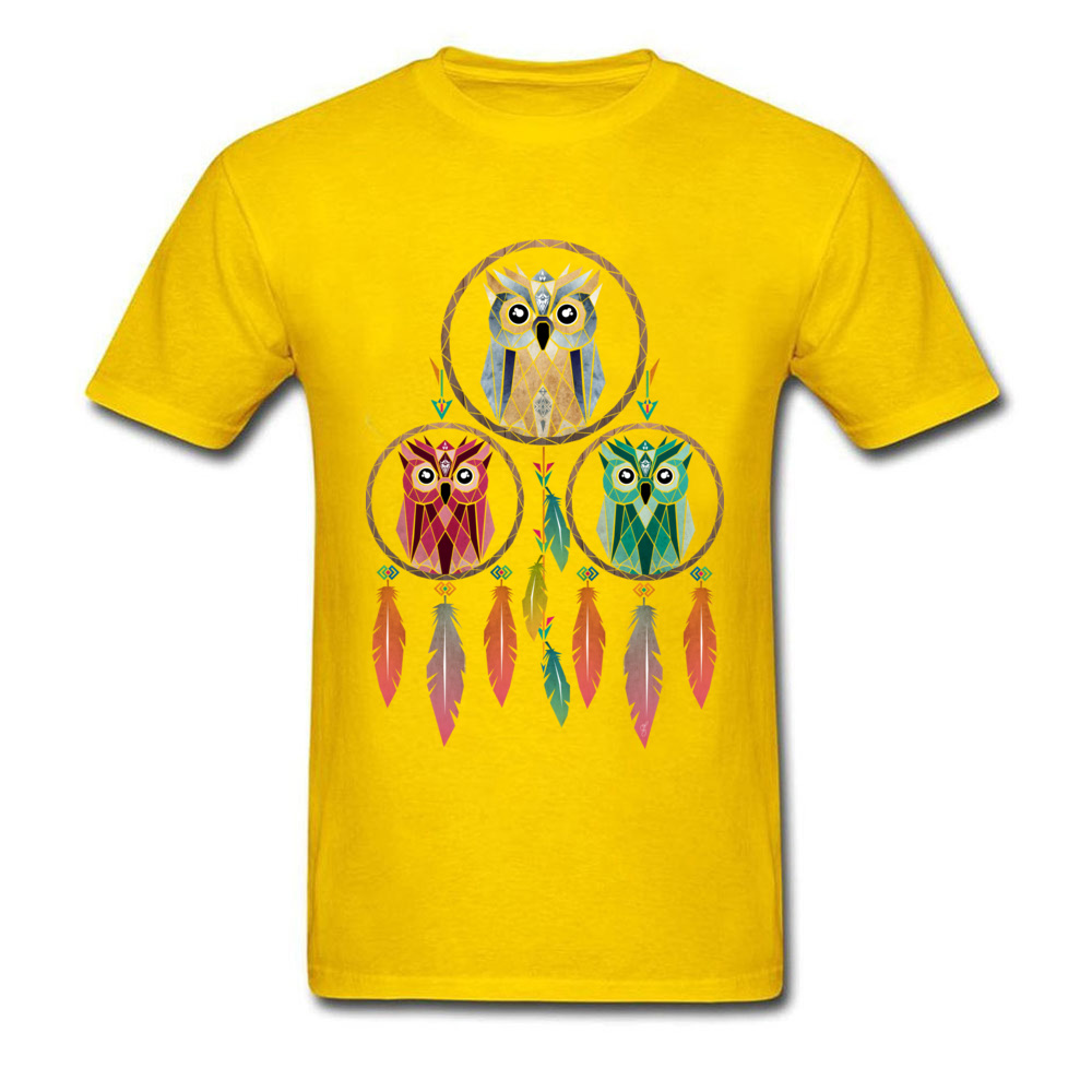 owl dream Unique Short Sleeve T Shirt Mother Day Crewneck 100% Cotton Men's T Shirt Unique Tops Tees Fashion Wholesale owl dream yellow