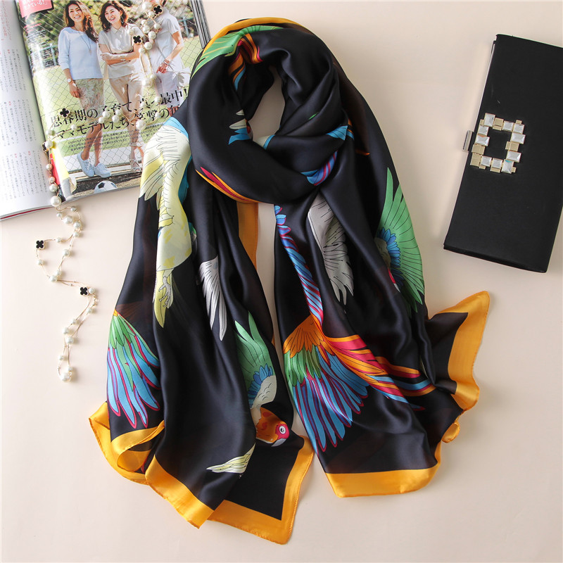 Women Silk Scarf Bright Bird Cartoon Long Shawl Smooth Summer Wrap Hot Banada New [1830]