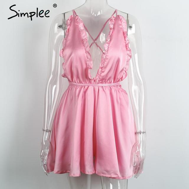 Simplee Backless elegant jumpsuit romper Deep v neck satin ribbon playsuit Chic fluffy ruffles women overalls sleepwear culotte