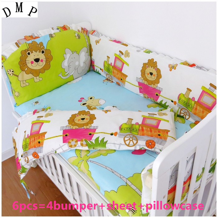 Promotion! 6PCS Lion Baby bedding set 100% cotton crib set for winter bed cover (bumper+sheet+pillow cover)