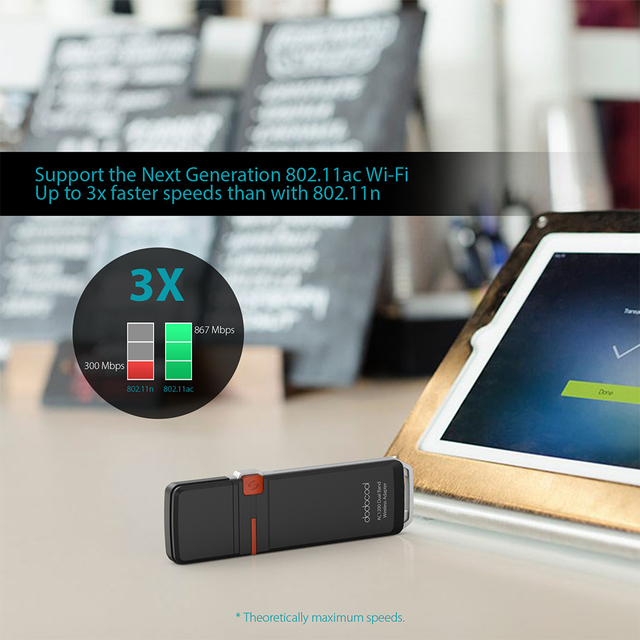 Wireless Network USB 3.0 Adapter dodocool AC1200 Dual Band Wi-Fi Dongle 2.4 GHz 300 Mbps or 5 GHz 867 Mbps WPS Encryption