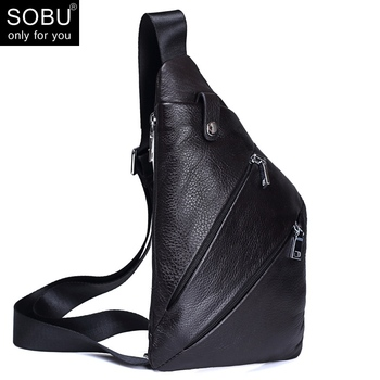 Genuine Leather Chest Pack Men Bag Cross body Messenger Bags Zipper Leather Phone Waist Bag N101