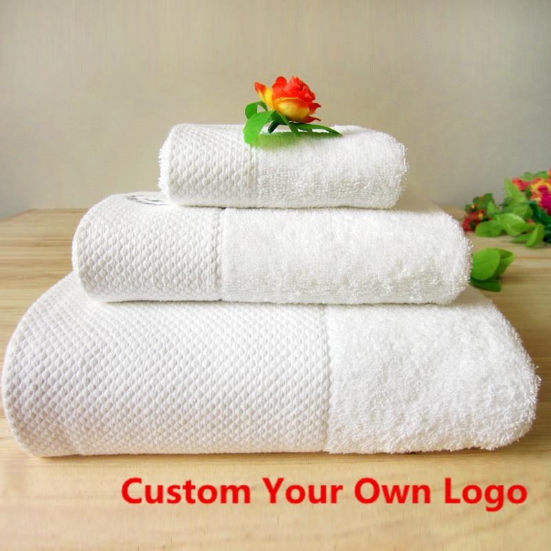 Προσαρμοσμένο σετ πετσετών λογότυπων 1000G 100% Egyptain Cotton 3PCS Σετ Μπάνιου + Προσώπου + Πετσέτες Πετσέτες Ξύλινο Πετσέτες Πετσέτες Λευκό