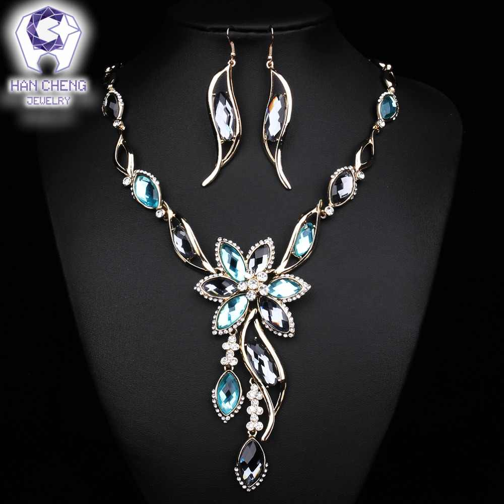 HanCheng Fashion Hot Leaf Rhinestone Flower Created Crystal Drop Statement Pendant Necklace Women Jewelry Golden collier femme