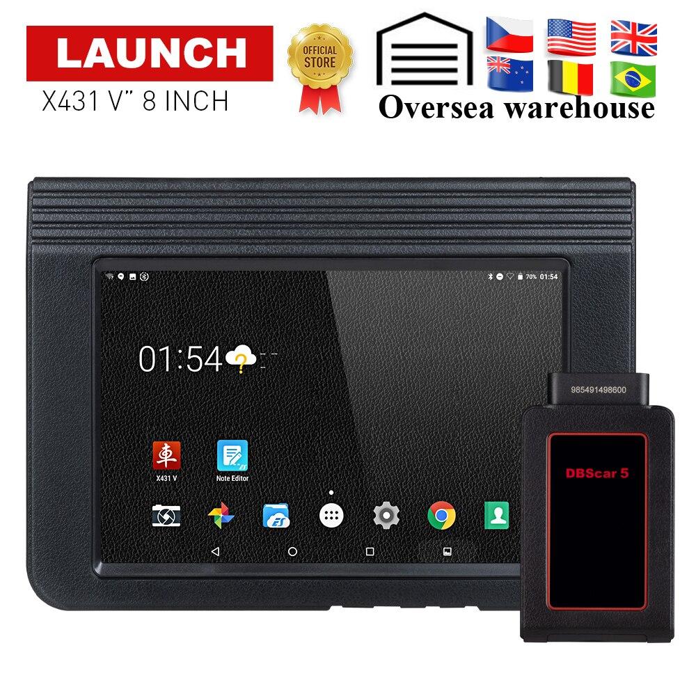 Lanzamiento X431 V Auto/Car herramienta de diagnóstico soporte Bluetooth Wifi X-431 V 8 pulgadas Sistema completo OBD2 escáner con 2 Actualización libre del año