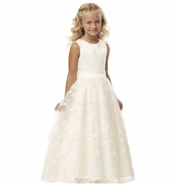 White Lace Princess Girl Dress Girls Wedding Dress Party Clothing Spring Autumn Delicate First Communion Kids