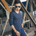 M-5XL Hombre T Shirts Moda 2016 T5018 Nuevo Estilo Moda Casual para hombre Cuello En V Camiseta de Manga Larga Camisetas Hombre Camiseta Homme