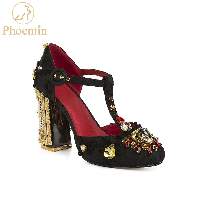 Phoentin Flower Shoes Wedding 2019 Luxury Shoes Women Designers Crystal Rhinestone Open Heels Metal T-strap Party Pumps FT622