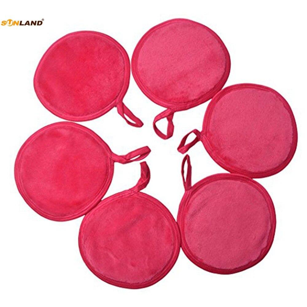 Sinland Microfibra Reutilizáveis Almofadas Removedor de Maquiagem Suave Facial Lábio Cuidados Com A Pele Lavar Toalha De Pano De Pano de Olho Sopro Rodada 4.7 Polegada 6 Pack