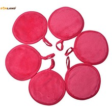 Sinland Microfiber Reusable Makeup Remover Pads Soft Facial Cloth Eye Lip Skin Care Wash Towel Puff Round 4.7Inch 6 Pack